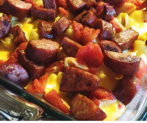 Smoked Sausage Mac+CheeseBake